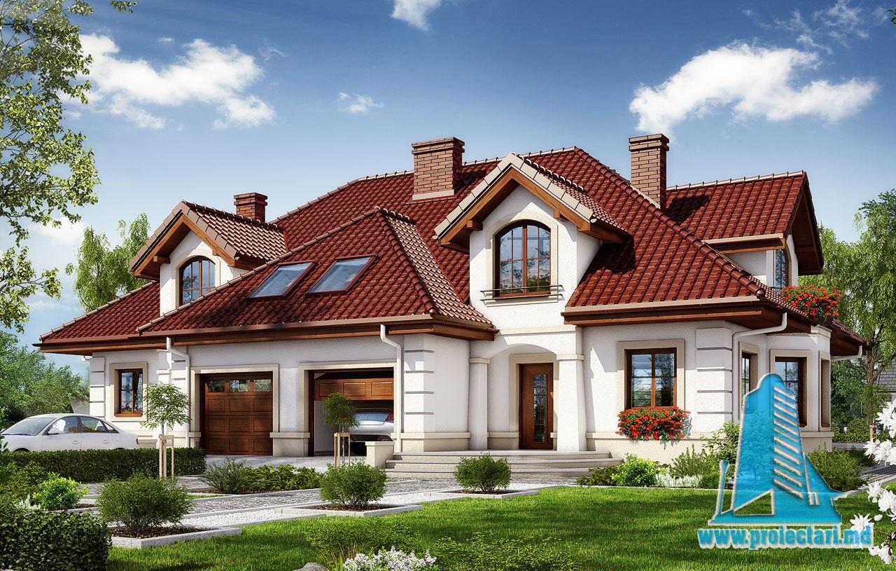casa de tip duplex cu masarda si garaj pentru o masina 100557 proiectari si constructii. Black Bedroom Furniture Sets. Home Design Ideas