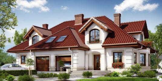 Проект жилого дома дуплекс с мансардой, гаражом для одного автомобиля – 100557