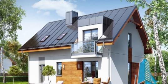 Проект жилого дома с партером, мансардой, гаражом для одного автомобиля и летней террасой -100543