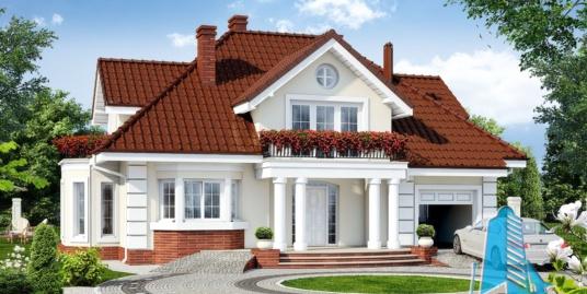 Проект жилого дома с  мансардой, гаражом для одного автомобиля-100583