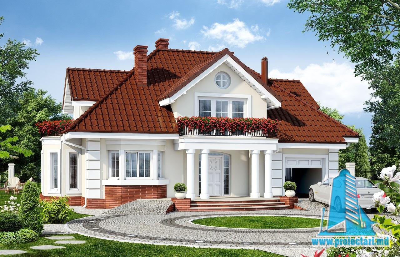 Proiect de casa cu parter mansarda si garaj pentru un automobil-100583
