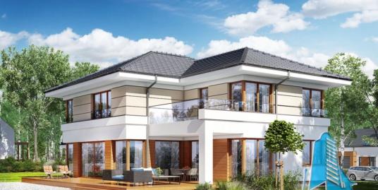 Проект жилого дома с  подвалом, 2 этажа, гаражом для 2 автомобиля – 100580