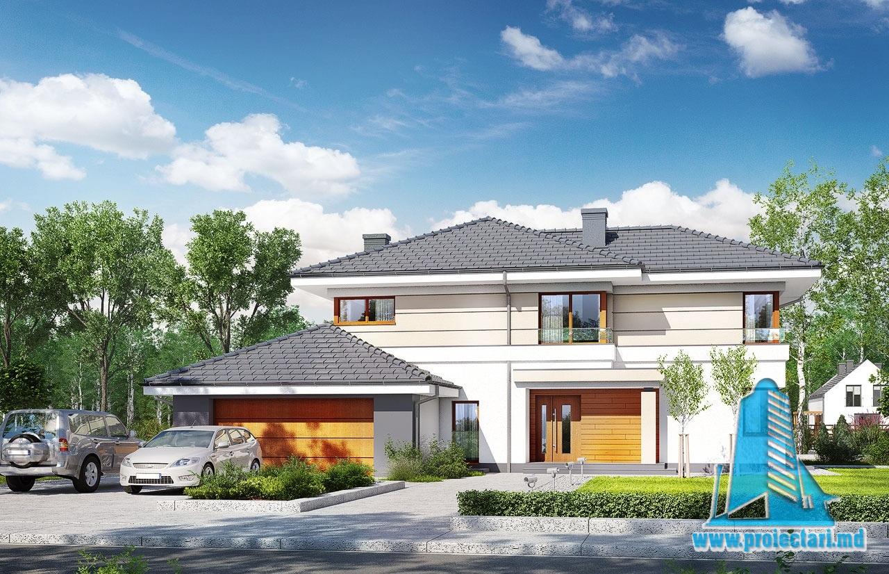 Proiect de casa cu demisol parter etaj cu garaj pentru for Case cu etaj si garaj