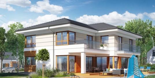 Проект жилого дома, 2 этажа, гараж для 2 автомобиля – 100581