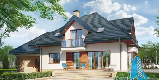 Проект жилого дома с цокольным этажом, мансардой, гаражом для два автомобиля – 100578