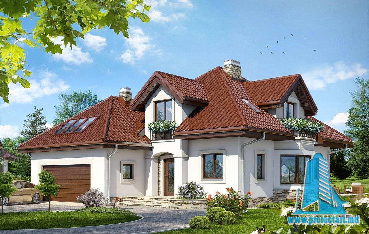 Proiect de casa cu parter, mansarda si garaj pentru doua automobile – 100582