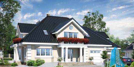 Проект жилого дома с  мансардой, гаражом для 2 автомобиля-100585