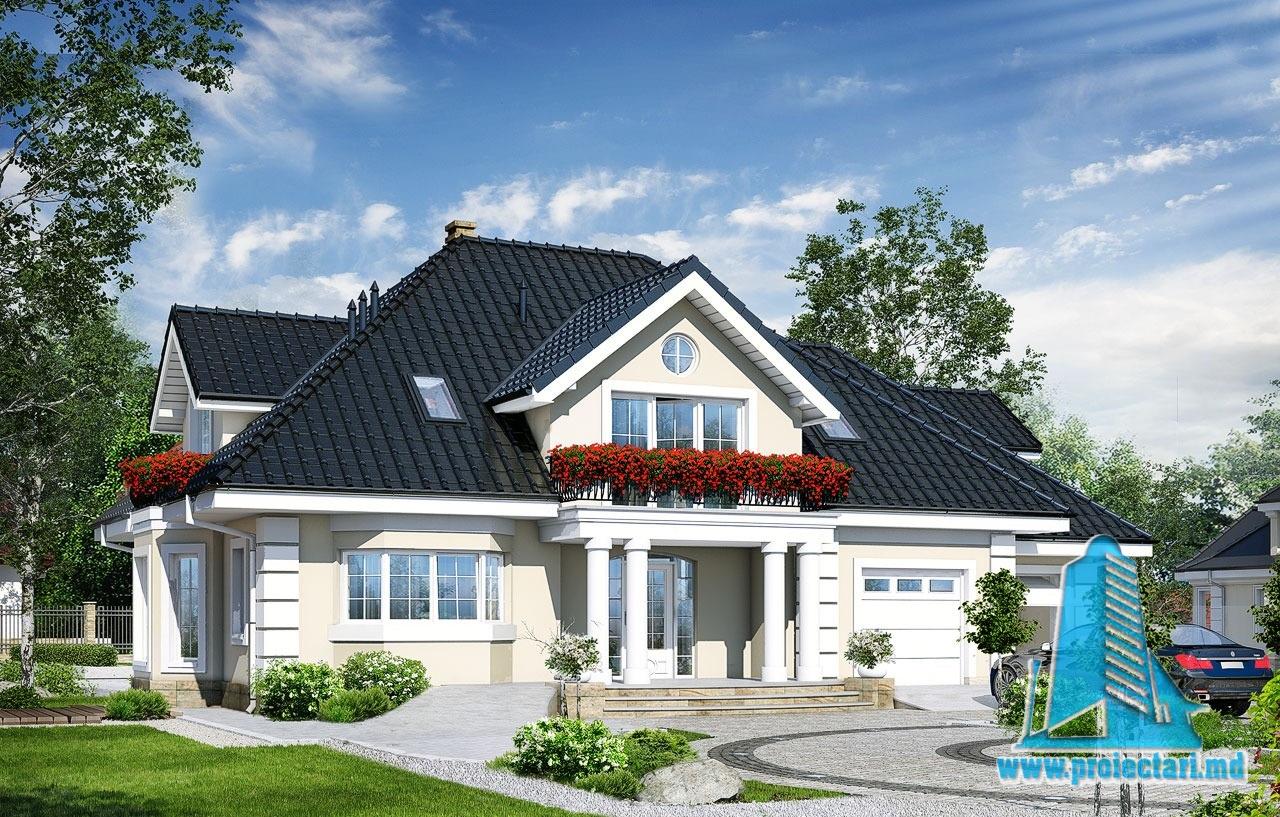 Proiect de casa cu parter mansarda si garaj pentru doua automobile-100585