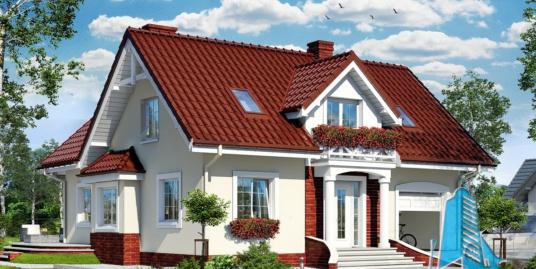 Проект жилого дома с  мансардой, гаражом для одного автомобиля-100587