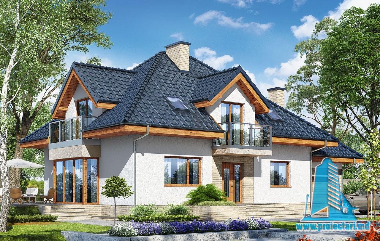 Проект жилого дома с подвалом, мансардой, гаражом для одного автомобиля- 100579
