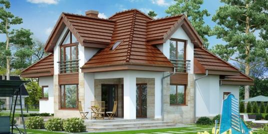 Проект жилого дома с  мансардой, гаражом для одного автомобиля-100586