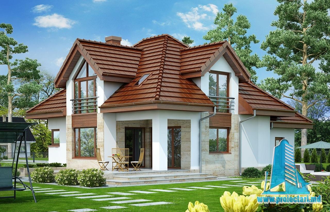 Proiect de casa cu parter mansarda si garaj pentru un automobil-100586