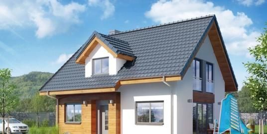 Проект деревяного жилого дома с партером, мансардой и летней террасой -100544