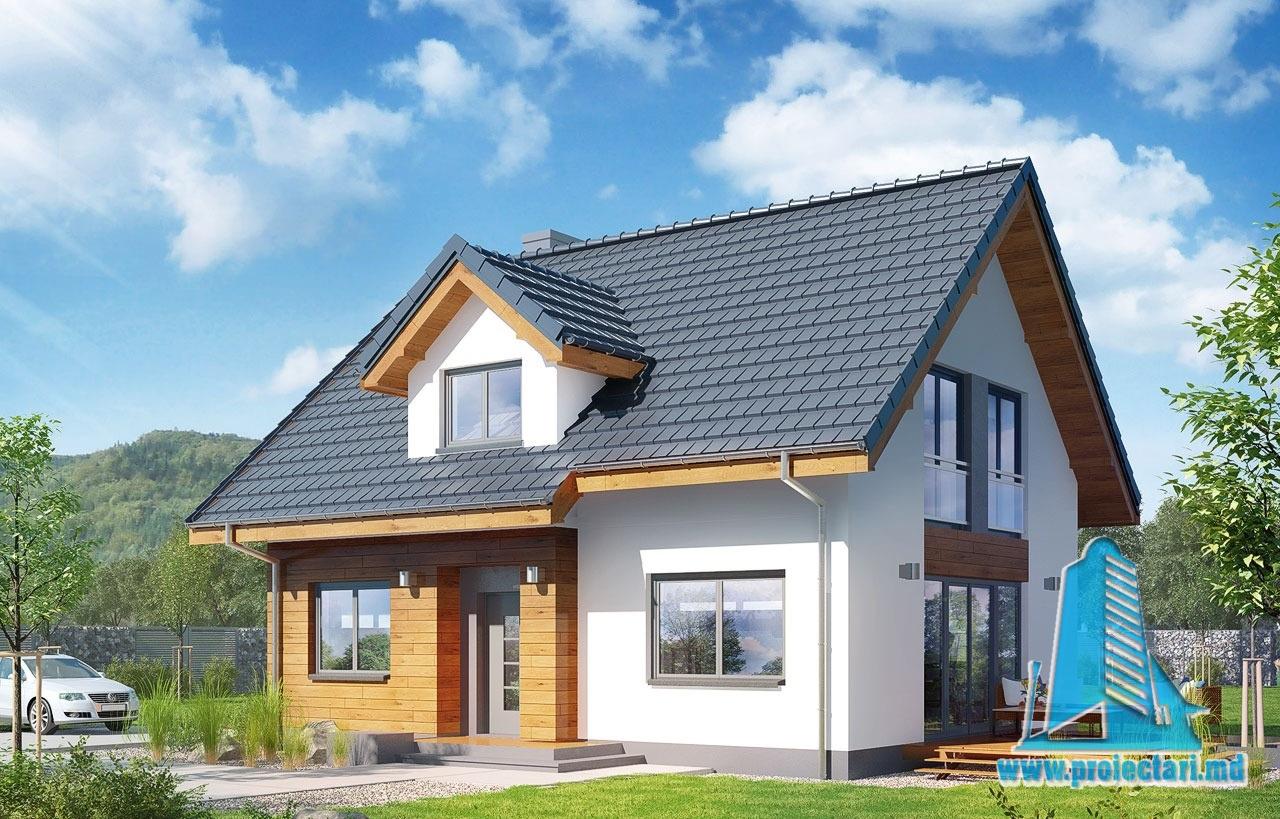 Proiect de casa cu mansarda din lemn si terasa de vara
