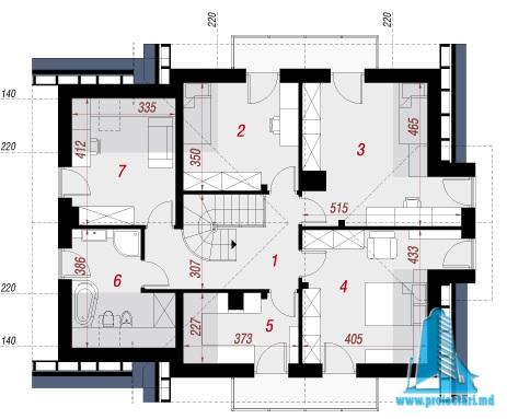 etaj Proiect de casa cu parter, etaj si garaj pentru un automobil