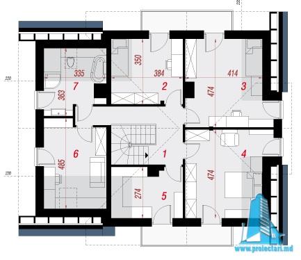 etaj Проект двухэтажного жилого дома с гаражом для одного автомобил
