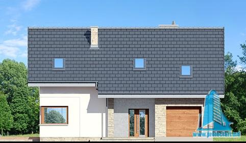 fatada-1Proiect de casa cu parter, mansarda si garaj pentru un automobil