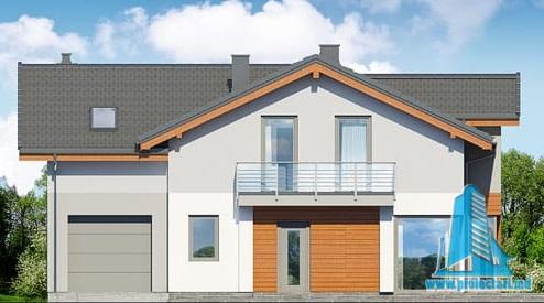 fatada-1 Proiect de casa cu parter, etaj si garaj pentru un automobil