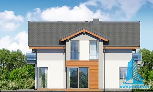 fatada-2 Proiect de casa cu parter, etaj si garaj pentru un automobil
