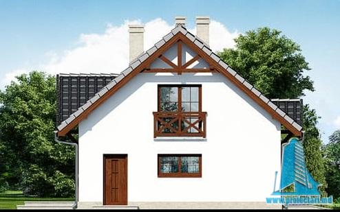 fatada-3 Проект жилого дома с партером, мансардой и гаражом для одного автомобиля