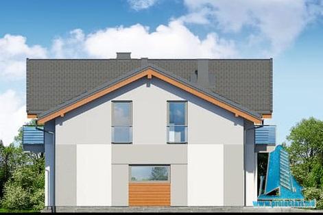 fatada-3 Proiect de casa cu parter, etaj si garaj pentru un automobil
