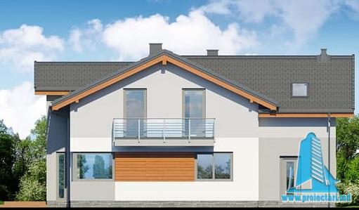 fatada-4 Proiect de casa cu parter, etaj si garaj pentru un automobil