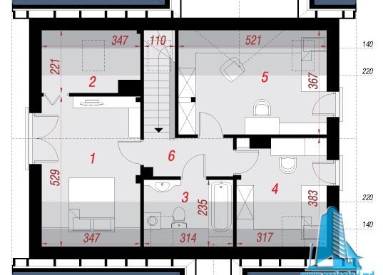 mansarda Проект жилого дома с партером, мансардой и гаражом для одного автомобиля
