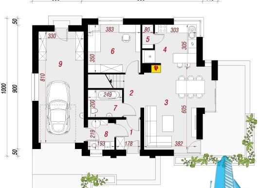 parter Proiect de casa cu parter, etaj si garaj pentru un automobil