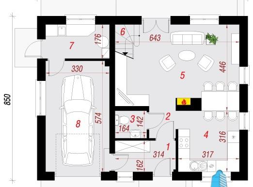 parter Проект жилого дома с партером, мансардой и гаражом для одного автомобиля