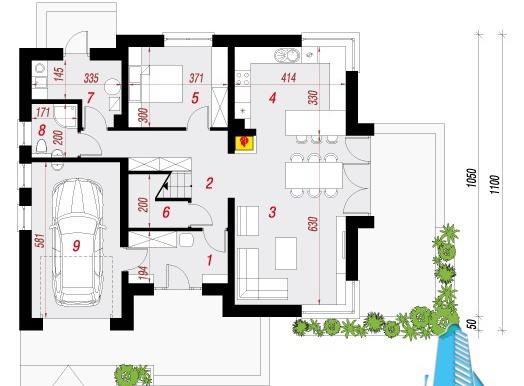 parter Проект двухэтажного жилого дома с гаражом для одного автомобил