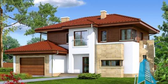 Проект жилого дома с  мансардой, гаражом для 2 автомобиля-100588
