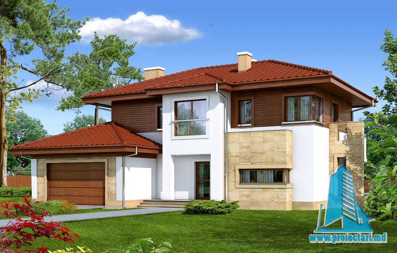 Proiect de casa cu etaj si garaj proiectari si constructii for Proiecte case cu etaj si terasa