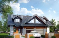 Proiect de casa de tipduplex cu garaj si mansarda pentru o masina