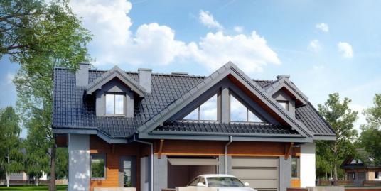 Проект  дома дуплекс с  партером, мансардой и гаражом для одного автомобиля- 100558