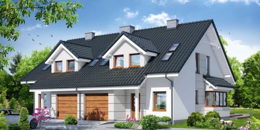 Проект  дома дуплекс с  партером, мансардой и гаражом для одного автомобиля-100562