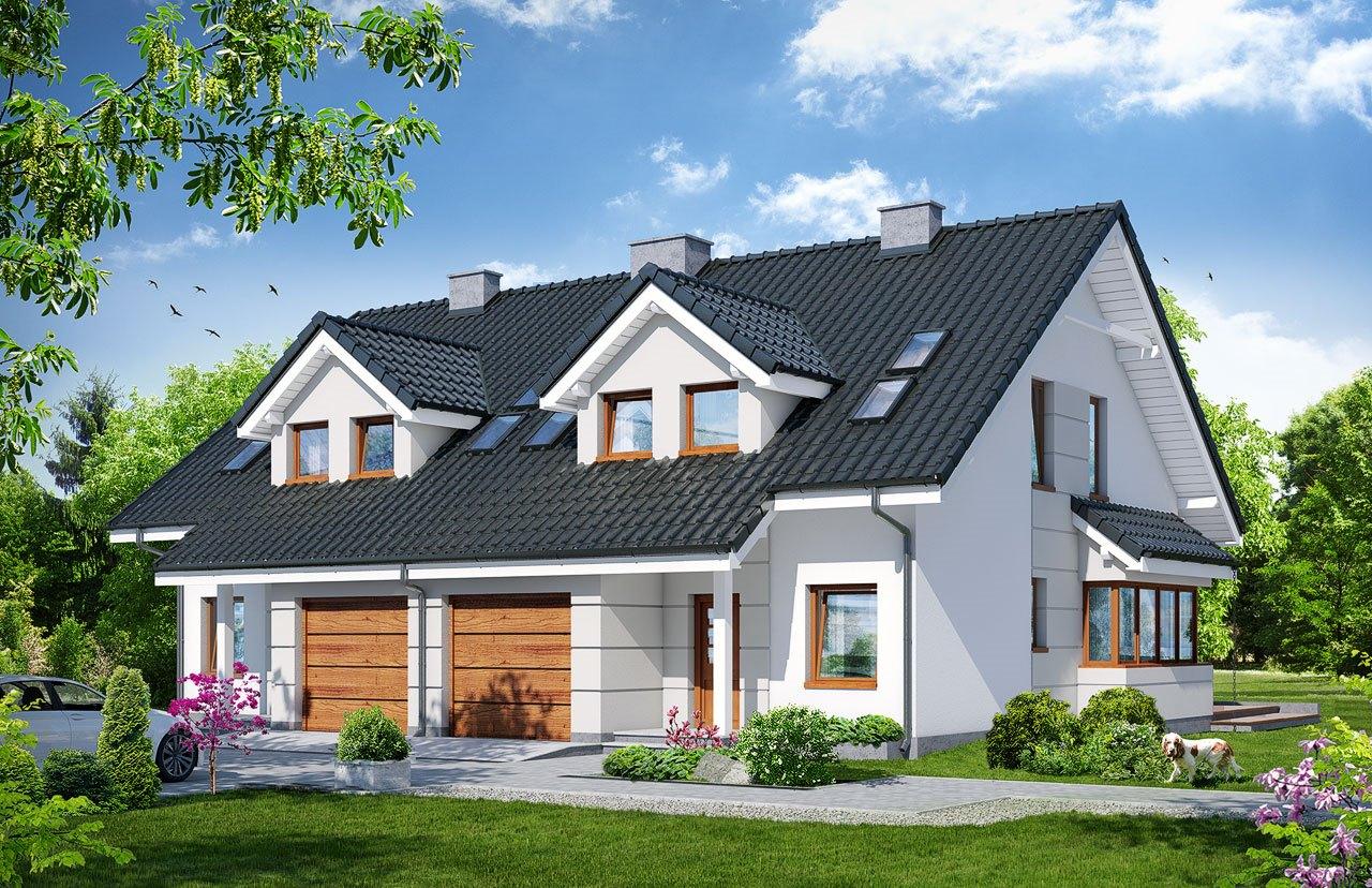 Proiect de casa duplex cu mansarda si garaj pentru un automobil-100562