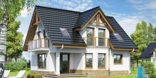 Проект жилого дома с партером, мансардой, гаражом для одного автомобиля и летней террасой -100519