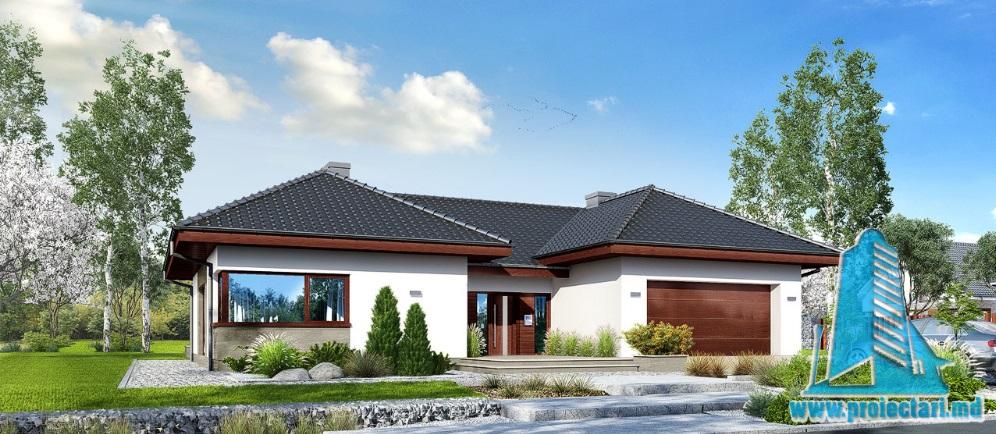 Proiect de casa cu parter si garaj pentru doua automobile-100705