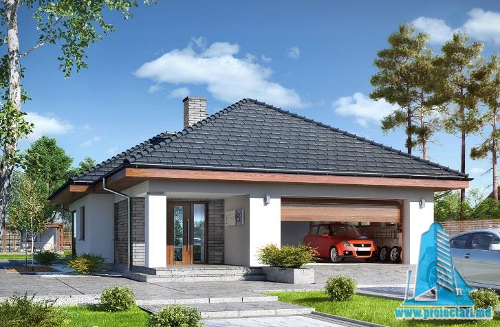 Proiectul de Casa de locuit cu parter si garaj pentru doua automobile-100647