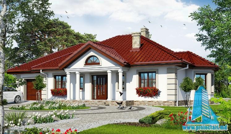 Proiect de casa cu parter si garaj pentru un automobil-100693