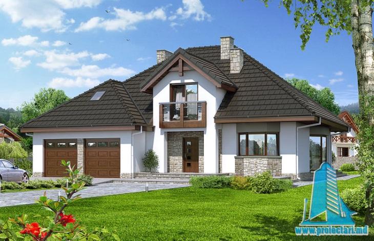 Proiect de Casa cu parter, mansarda si garaj pentru doua automobile – 100699