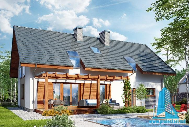 Proiect de Casa cu parter, mansarda si garaj pentru doua automobile – 100717