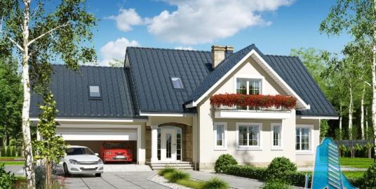 Proiect de casa cu parter, mansarda si garaj pentru doua automobile-100719