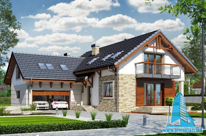 Proiect de Casa cu parter, mansarda si garaj pentru doua automobile – 100721