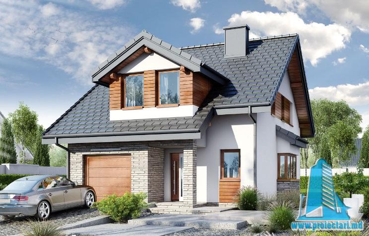Proiect de casa cu parter, mansarda si garaj pentru un automobil-100671