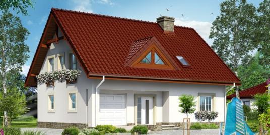Proiect de casa cu parter, mansarda si garaj pentru un automobil-100677