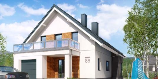 Proiect de casa cu parter, mansarda si garaj pentru un automobil-100679