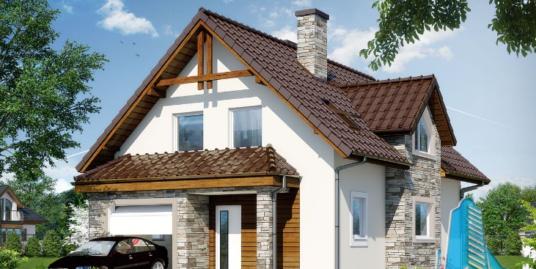 Proiect de casa cu parter, mansarda si garaj pentru un automobil-100681