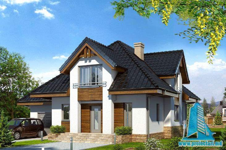 Proiect de casa cu parter, mansarda si garaj pentru un automobil-100703