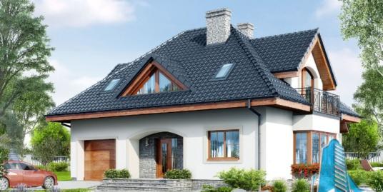 Proiect de casa cu parter, mansarda si garaj pentru un automobil-100711